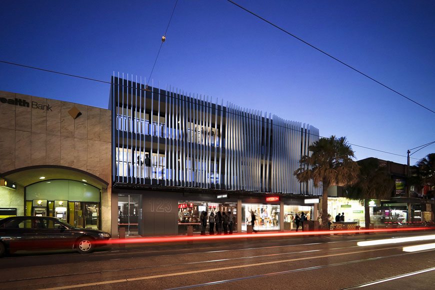 Acland External View night dusk Amnon Weber Architects St Kilda